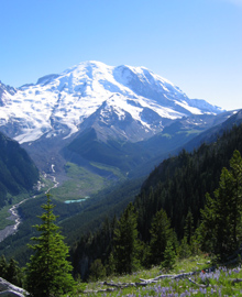 Mount Rainier, when it isn't snowing.