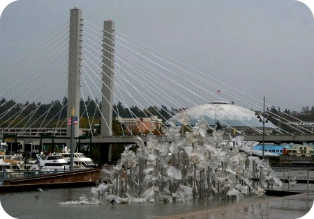ice sculpture and Tacoma dome