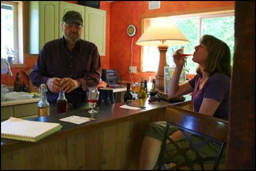Tasting Cider at the Eaglemount Tasting Studio with Jim Davis.