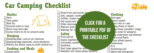 car camping gear checklist you can print