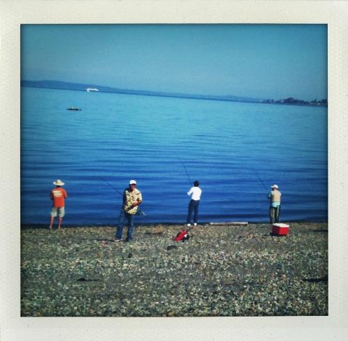 Four fishermen at Lincoln Park