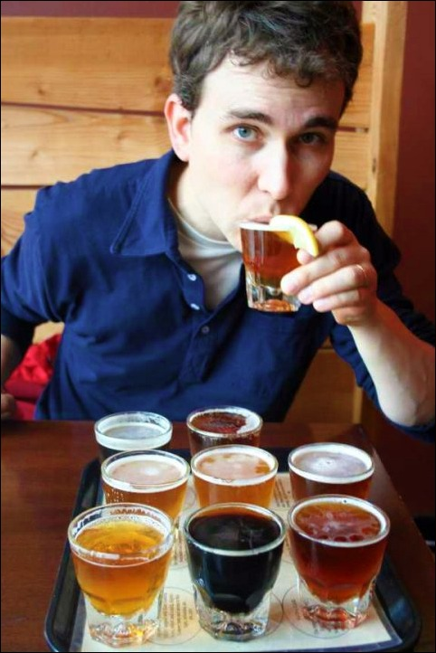 Tasting craft beer in Portland