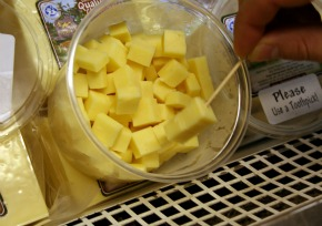 sampling cheese at Little Qualicum Cheeseworks