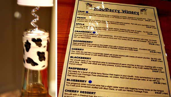 Mooberry Winery Tasting Menu