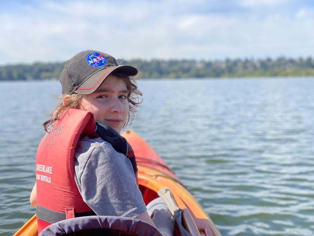 Paddling a rented kayak at Green Lake