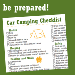 Car Camping Gear Check List - Printable