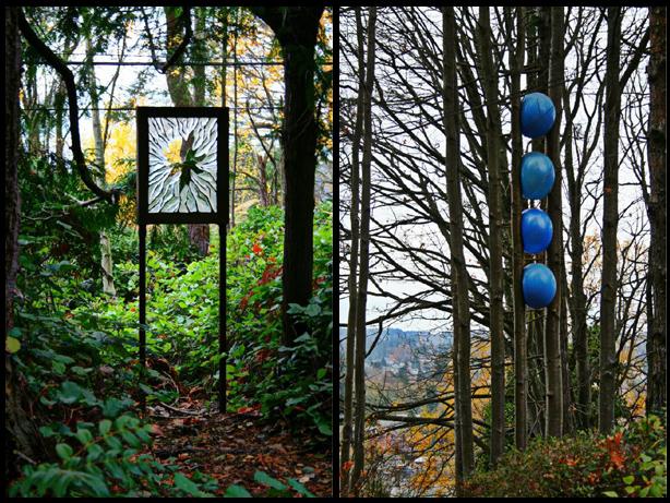 glass art and blue balls