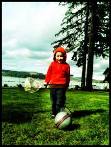 Playing on one of the green lawns at Alderbrook Resort