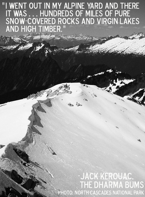 Desolation Peak in the North Cascades with quote from Jack Kerouac