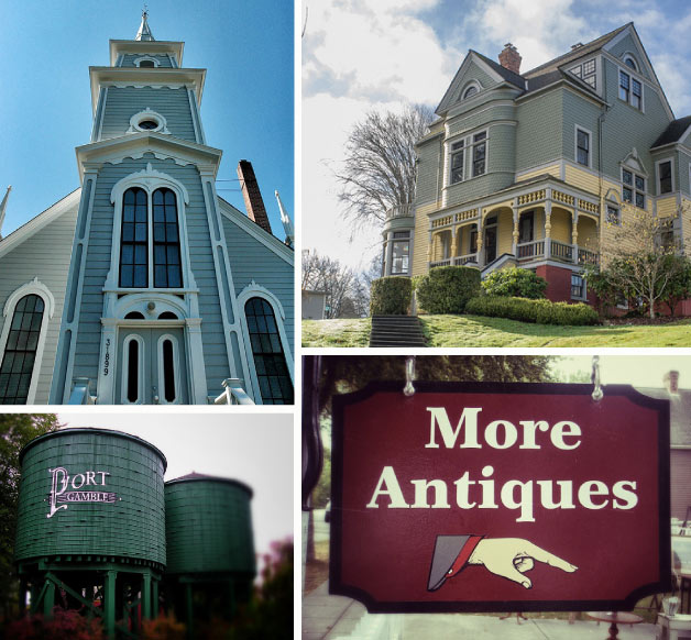 Port Gamble, Washington is a scenic waterfront community with antique shops and historic houses
