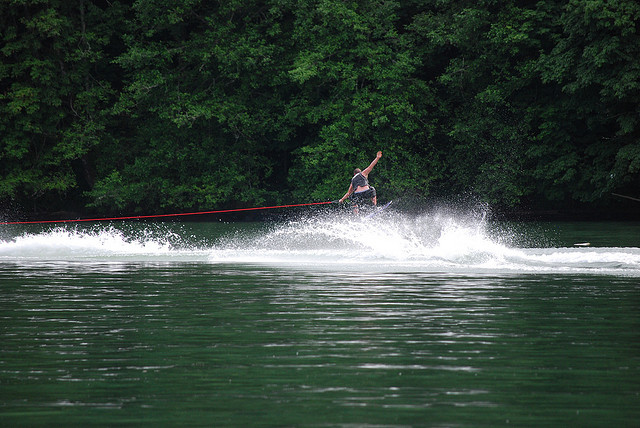 Water skiing on Mayfield Lake in Washington by KennethBMoore