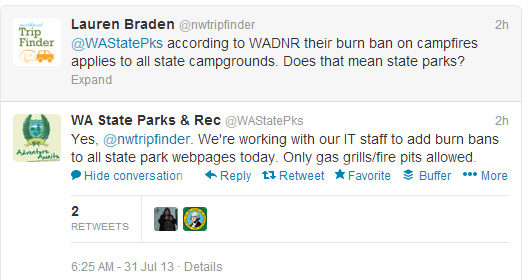 burn ban state park campgrounds twitter